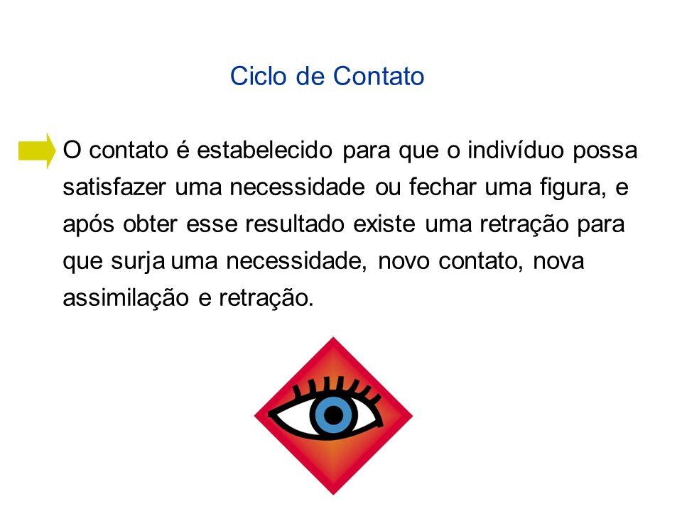 Ciclo de Contato O contato é estabelecido para que o indivíduo possa satisfazer uma necessidade ou fechar uma figura, e após obter esse resultado exis
