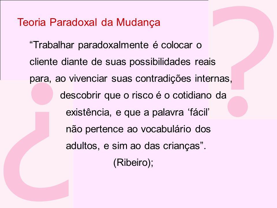 Teoria Paradoxal da Mudança Trabalhar paradoxalmente é colocar o cliente diante de suas possibilidades reais para, ao vivenciar suas contradições inte