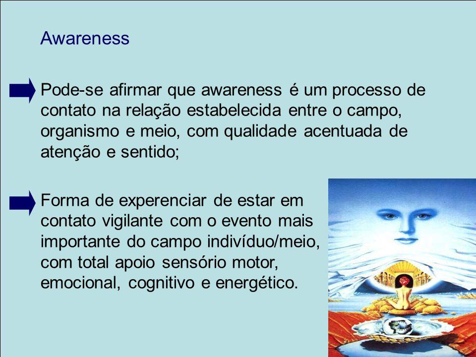 Awareness Pode-se afirmar que awareness é um processo de contato na relação estabelecida entre o campo, organismo e meio, com qualidade acentuada de a