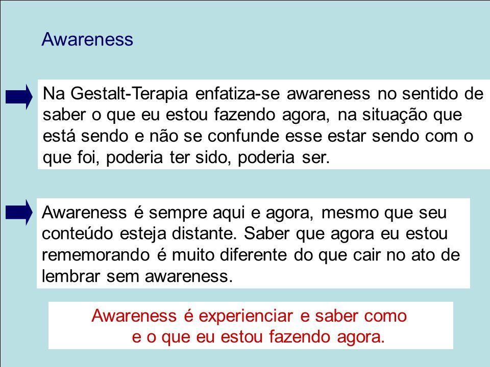 Na Gestalt-Terapia enfatiza-se awareness no sentido de saber o que eu estou fazendo agora, na situação que está sendo e não se confunde esse estar sen