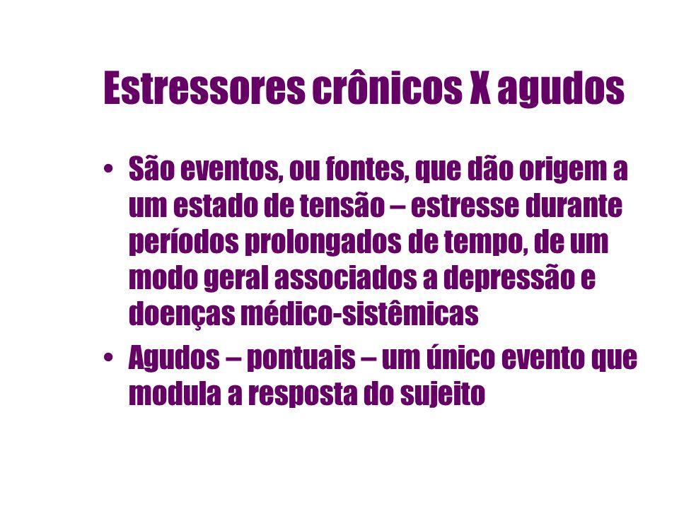 Estressores crônicos X agudos São eventos, ou fontes, que dão origem a um estado de tensão – estresse durante períodos prolongados de tempo, de um mod