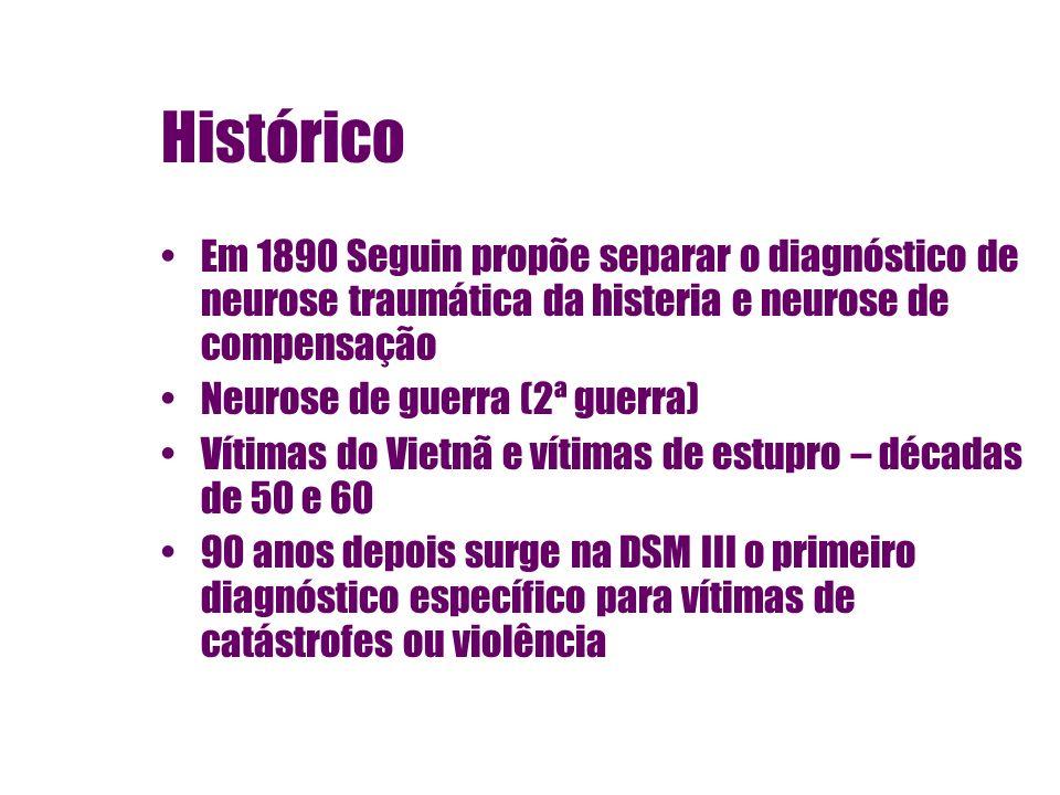 Histórico Em 1890 Seguin propõe separar o diagnóstico de neurose traumática da histeria e neurose de compensação Neurose de guerra (2ª guerra) Vítimas