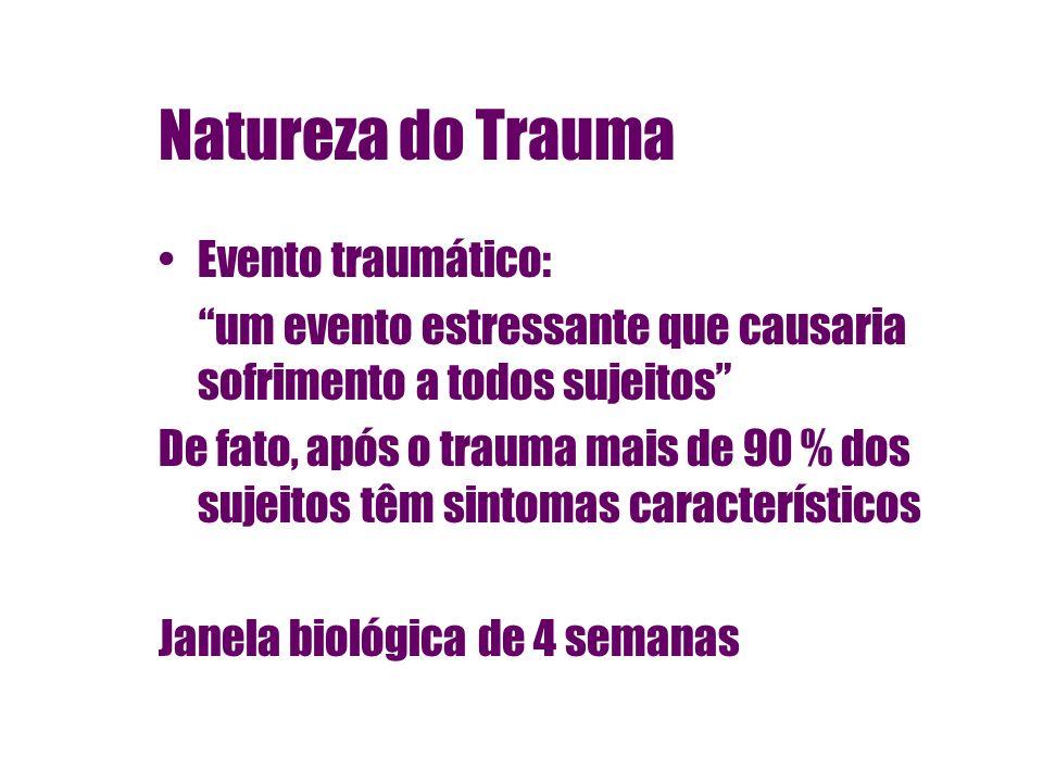 Natureza do Trauma Evento traumático: um evento estressante que causaria sofrimento a todos sujeitos De fato, após o trauma mais de 90 % dos sujeitos