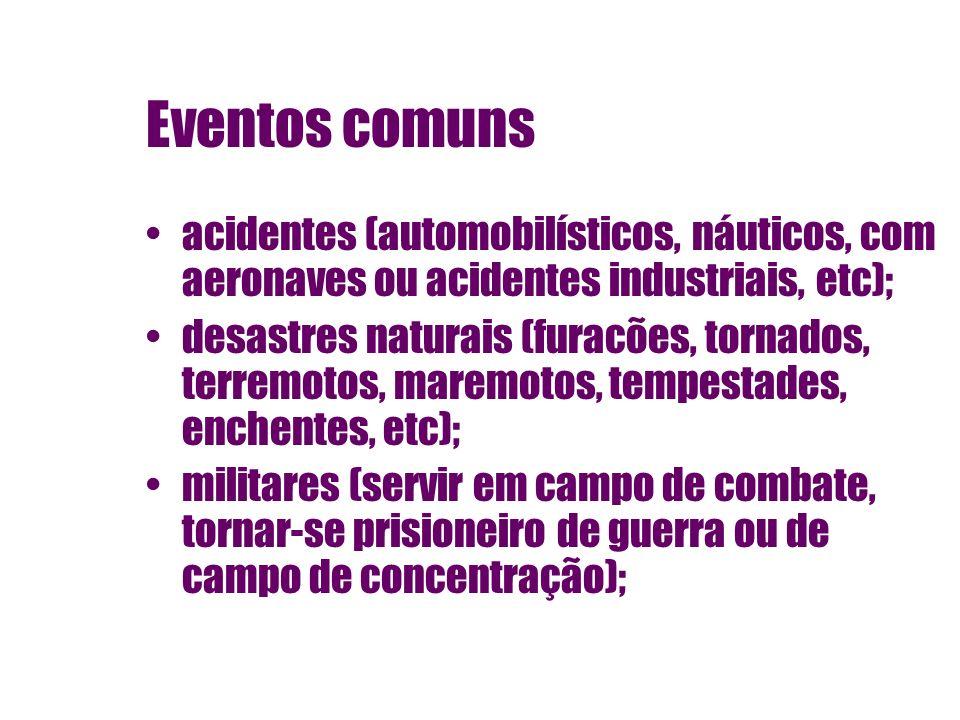 Eventos comuns acidentes (automobilísticos, náuticos, com aeronaves ou acidentes industriais, etc); desastres naturais (furacões, tornados, terremotos
