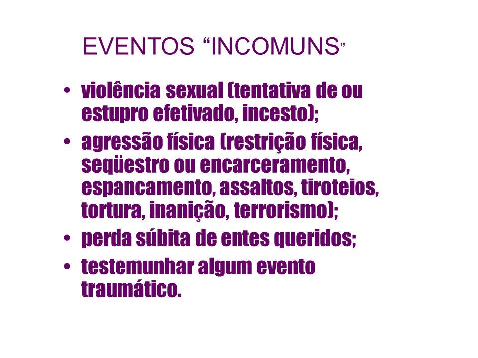 violência sexual (tentativa de ou estupro efetivado, incesto); agressão física (restrição física, seqüestro ou encarceramento, espancamento, assaltos,