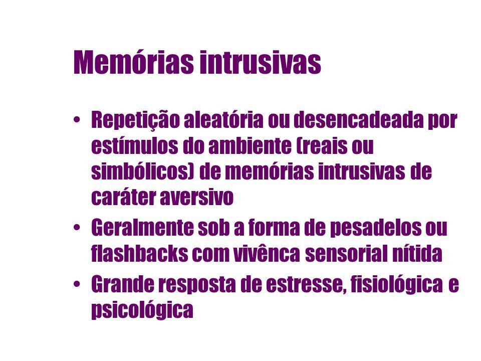 Memórias intrusivas Repetição aleatória ou desencadeada por estímulos do ambiente (reais ou simbólicos) de memórias intrusivas de caráter aversivo Ger