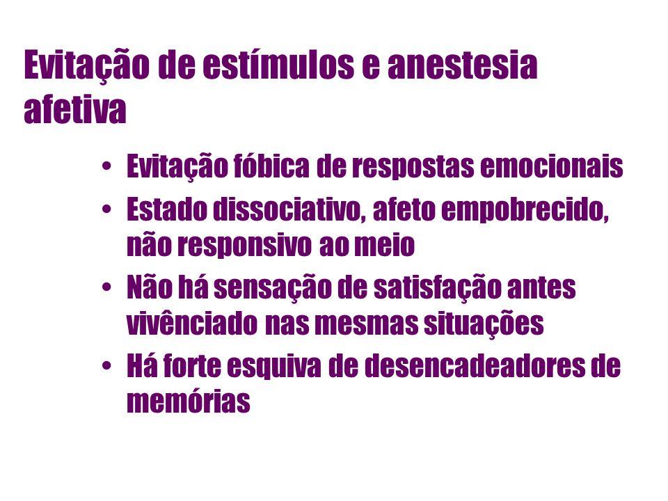Evitação de estímulos e anestesia afetiva Evitação fóbica de respostas emocionais Estado dissociativo, afeto empobrecido, não responsivo ao meio Não h