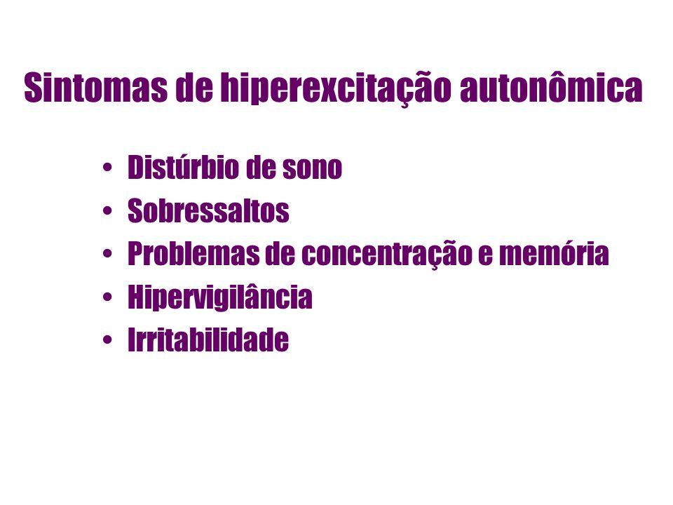 Sintomas de hiperexcitação autonômica Distúrbio de sono Sobressaltos Problemas de concentração e memória Hipervigilância Irritabilidade