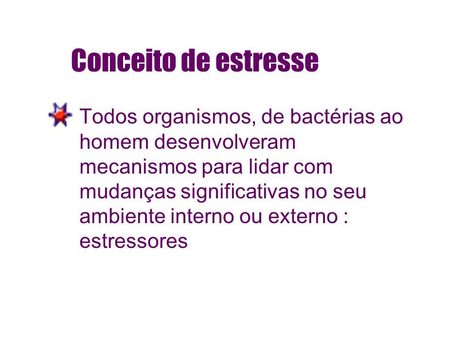 Conceito de estresse Todos organismos, de bactérias ao homem desenvolveram mecanismos para lidar com mudanças significativas no seu ambiente interno o