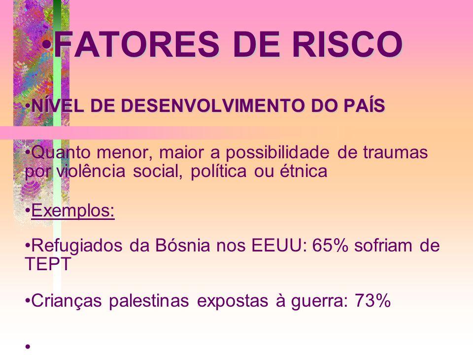 FATORES DE RISCOFATORES DE RISCO NÍVEL DE DESENVOLVIMENTO DO PAÍSNÍVEL DE DESENVOLVIMENTO DO PAÍS Quanto menor, maior a possibilidade de traumas por v