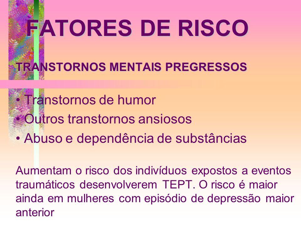 FATORES DE RISCO TRANSTORNOS MENTAIS PREGRESSOS Transtornos de humor Outros transtornos ansiosos Abuso e dependência de substâncias Aumentam o risco d