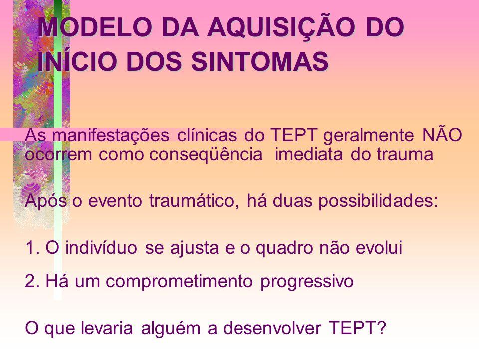 MODELO DA AQUISIÇÃO DO INÍCIO DOS SINTOMAS As manifestações clínicas do TEPT geralmente NÃO ocorrem como conseqüência imediata do trauma Após o evento