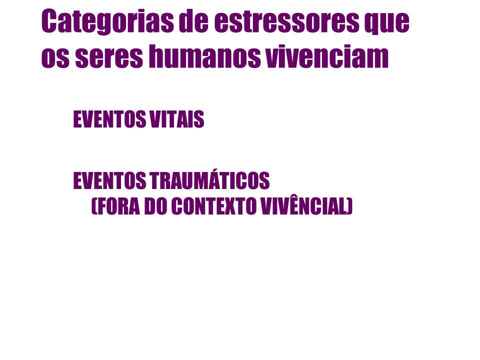 Categorias de estressores que os seres humanos vivenciam EVENTOS VITAIS EVENTOS TRAUMÁTICOS (FORA DO CONTEXTO VIVÊNCIAL)