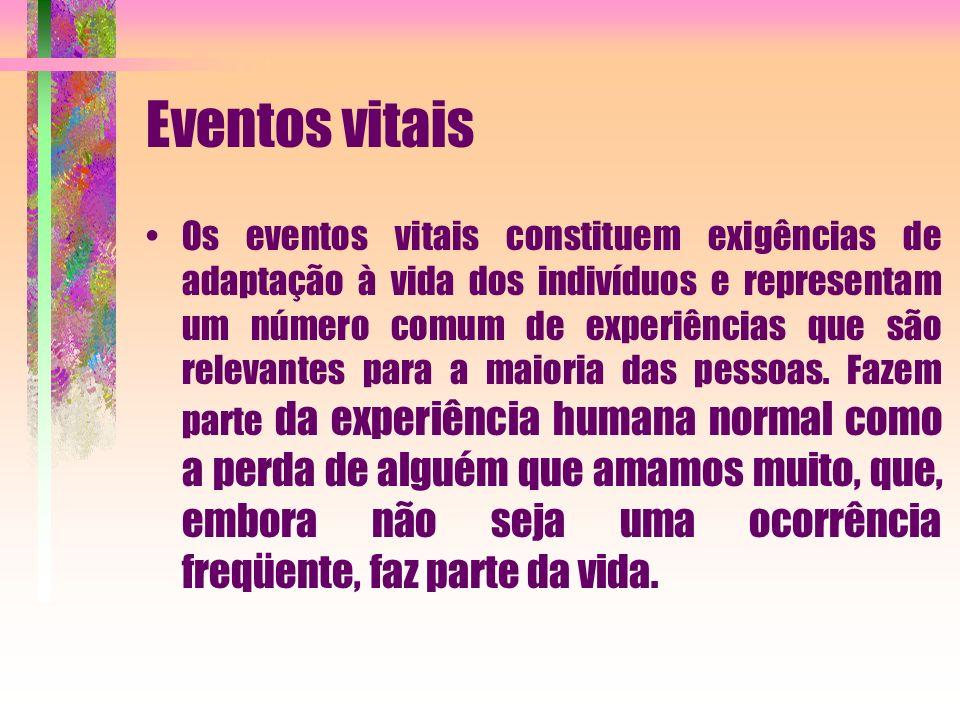 Eventos vitais Os eventos vitais constituem exigências de adaptação à vida dos indivíduos e representam um número comum de experiências que são releva