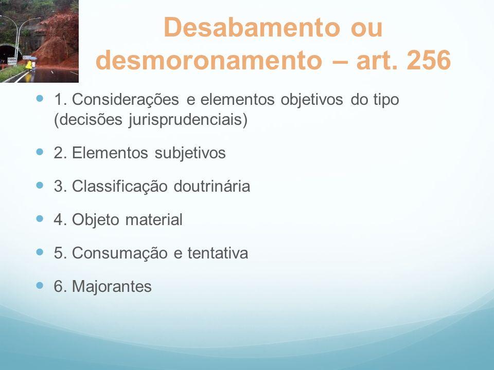 Desabamento ou desmoronamento – art. 256 1. Considerações e elementos objetivos do tipo (decisões jurisprudenciais) 2. Elementos subjetivos 3. Classif