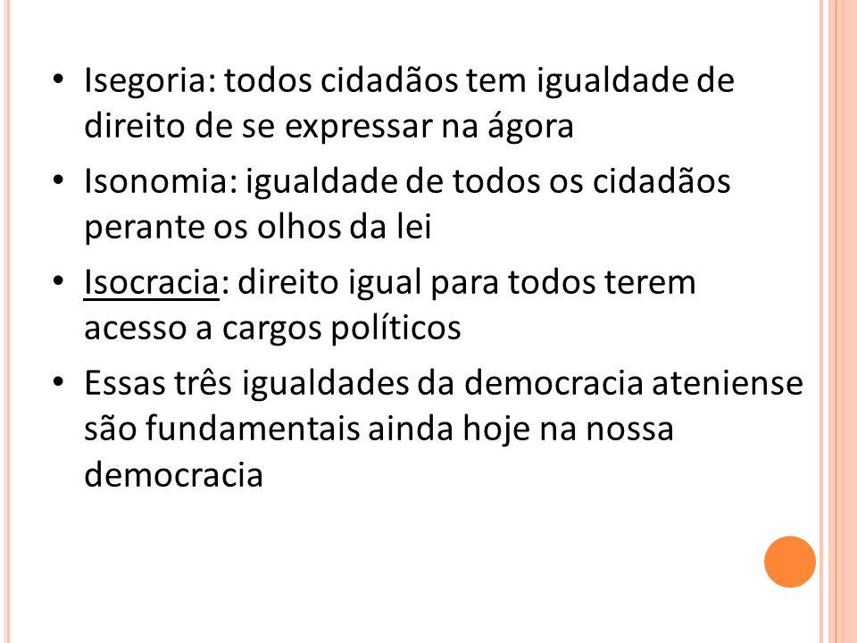 Isegoria: todos cidadãos tem igualdade de direito de se expressar na ágora Isonomia: igualdade de todos os cidadãos perante os olhos da lei Isocracia: