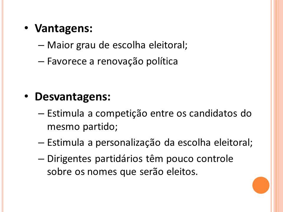 Vantagens: – Maior grau de escolha eleitoral; – Favorece a renovação política Desvantagens: – Estimula a competição entre os candidatos do mesmo parti