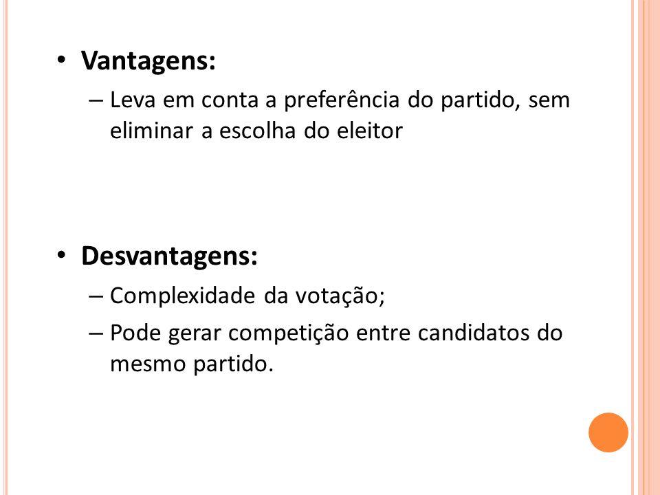 Vantagens: – Leva em conta a preferência do partido, sem eliminar a escolha do eleitor Desvantagens: – Complexidade da votação; – Pode gerar competição entre candidatos do mesmo partido.
