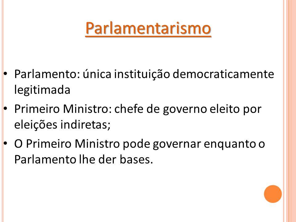 Parlamentarismo Parlamento: única instituição democraticamente legitimada Primeiro Ministro: chefe de governo eleito por eleições indiretas; O Primeiro Ministro pode governar enquanto o Parlamento lhe der bases.
