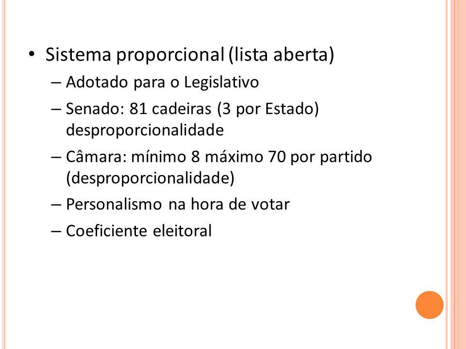 Sistema proporcional (lista aberta) – Adotado para o Legislativo – Senado: 81 cadeiras (3 por Estado) desproporcionalidade – Câmara: mínimo 8 máximo 70 por partido (desproporcionalidade) – Personalismo na hora de votar – Coeficiente eleitoral