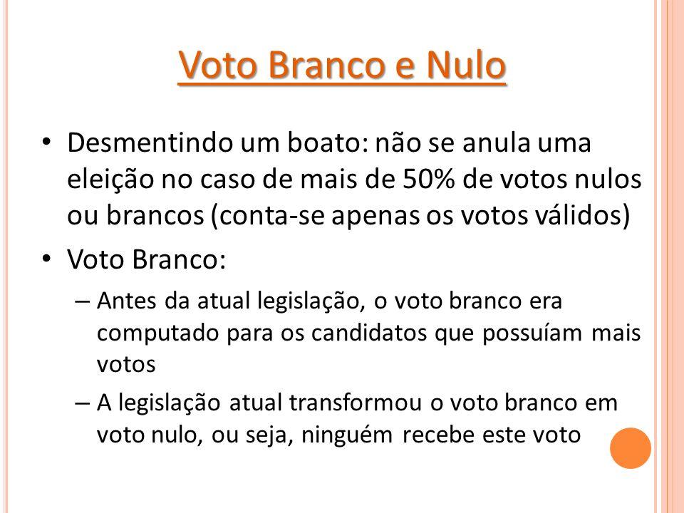 Voto Branco e Nulo Desmentindo um boato: não se anula uma eleição no caso de mais de 50% de votos nulos ou brancos (conta-se apenas os votos válidos)