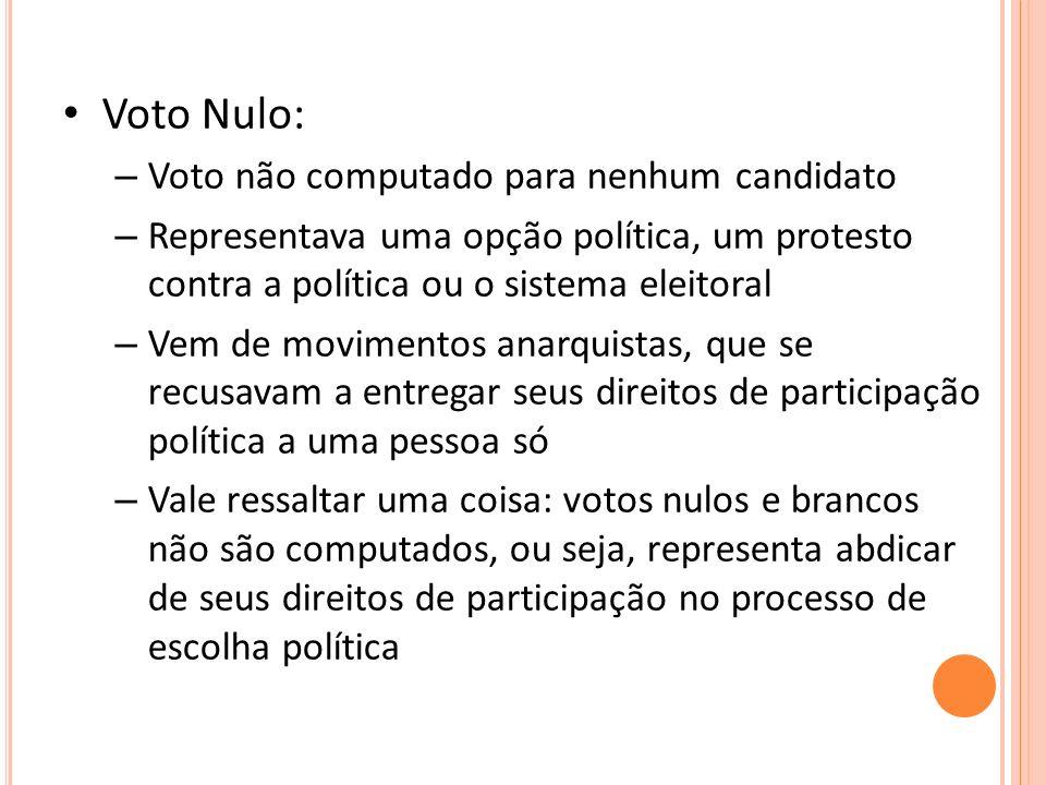 Voto Nulo: – Voto não computado para nenhum candidato – Representava uma opção política, um protesto contra a política ou o sistema eleitoral – Vem de