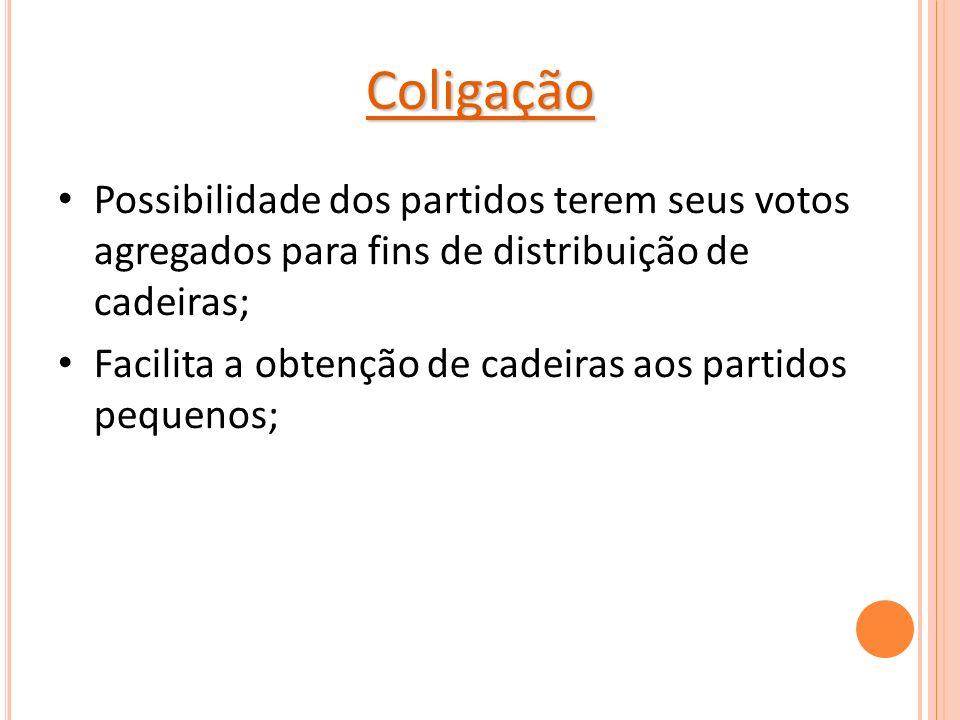Coligação Possibilidade dos partidos terem seus votos agregados para fins de distribuição de cadeiras; Facilita a obtenção de cadeiras aos partidos pequenos;