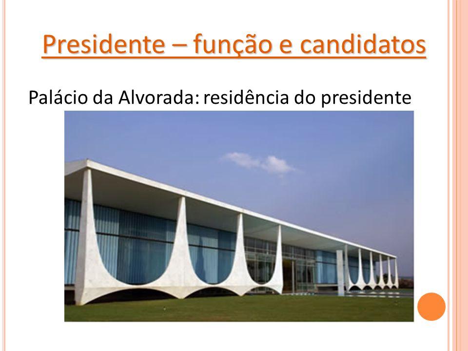 Presidente – função e candidatos Palácio da Alvorada: residência do presidente