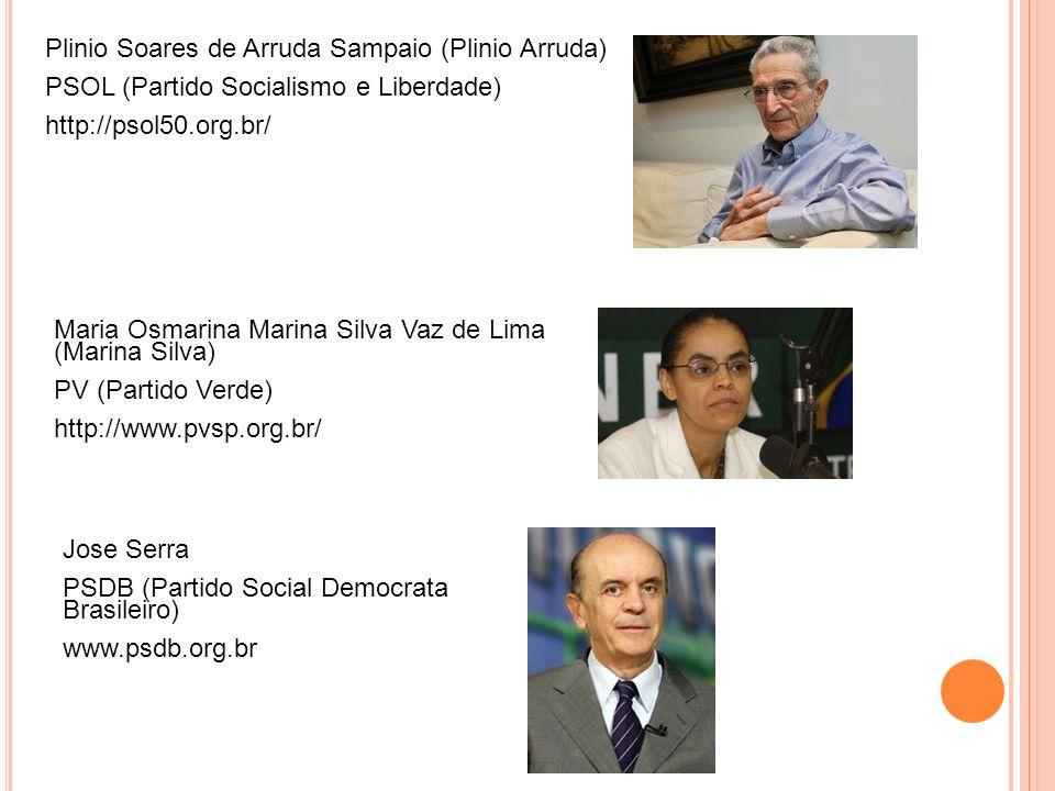 Plinio Soares de Arruda Sampaio (Plinio Arruda) PSOL (Partido Socialismo e Liberdade) http://psol50.org.br/ Maria Osmarina Marina Silva Vaz de Lima (Marina Silva) PV (Partido Verde) http://www.pvsp.org.br/ Jose Serra PSDB (Partido Social Democrata Brasileiro) www.psdb.org.br