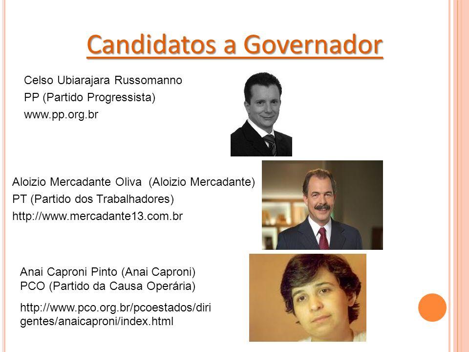 Candidatos a Governador Celso Ubiarajara Russomanno PP (Partido Progressista) www.pp.org.br Anai Caproni Pinto (Anai Caproni) PCO (Partido da Causa Operária) http://www.pco.org.br/pcoestados/diri gentes/anaicaproni/index.html Aloizio Mercadante Oliva (Aloizio Mercadante) PT (Partido dos Trabalhadores) http://www.mercadante13.com.br