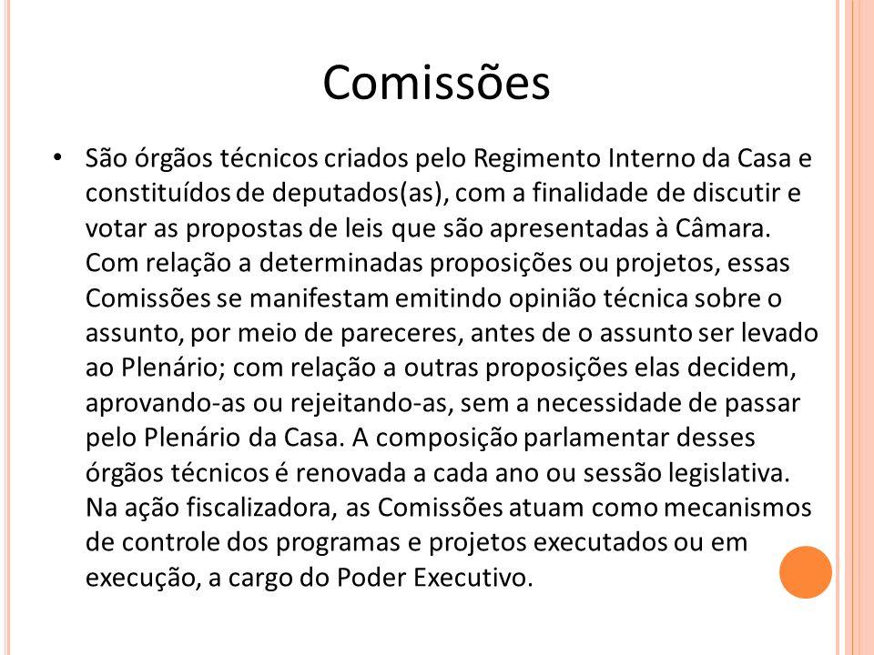 Comissões São órgãos técnicos criados pelo Regimento Interno da Casa e constituídos de deputados(as), com a finalidade de discutir e votar as proposta