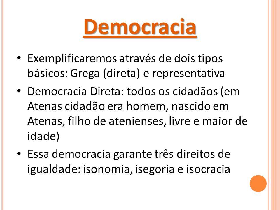 Democracia Exemplificaremos através de dois tipos básicos: Grega (direta) e representativa Democracia Direta: todos os cidadãos (em Atenas cidadão era homem, nascido em Atenas, filho de atenienses, livre e maior de idade) Essa democracia garante três direitos de igualdade: isonomia, isegoria e isocracia