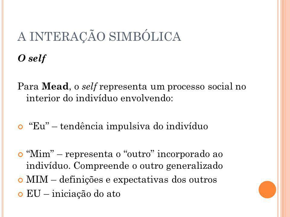 A INTERAÇÃO SIMBÓLICA O self Para Mead, o self representa um processo social no interior do indivíduo envolvendo: Eu – tendência impulsiva do indivídu