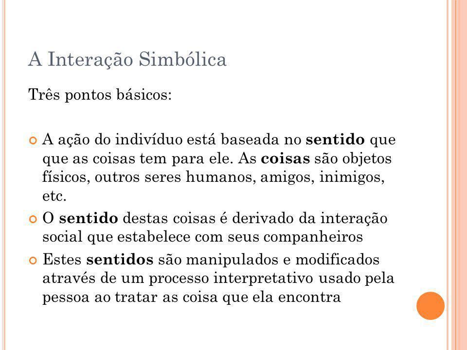 A Interação Simbólica Três pontos básicos: A ação do indivíduo está baseada no sentido que que as coisas tem para ele. As coisas são objetos físicos,