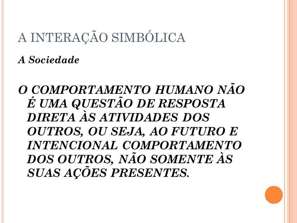 A INTERAÇÃO SIMBÓLICA A Sociedade O COMPORTAMENTO HUMANO NÃO É UMA QUESTÃO DE RESPOSTA DIRETA ÀS ATIVIDADES DOS OUTROS, OU SEJA, AO FUTURO E INTENCION