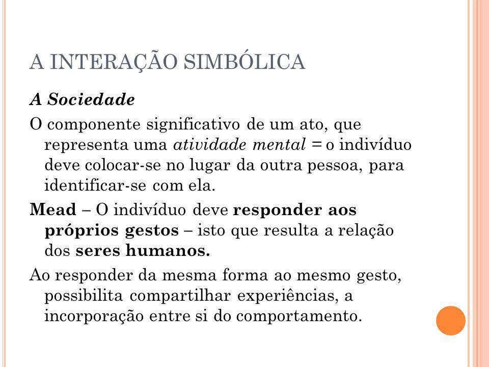 A INTERAÇÃO SIMBÓLICA A Sociedade O componente significativo de um ato, que representa uma atividade mental = o indivíduo deve colocar-se no lugar da