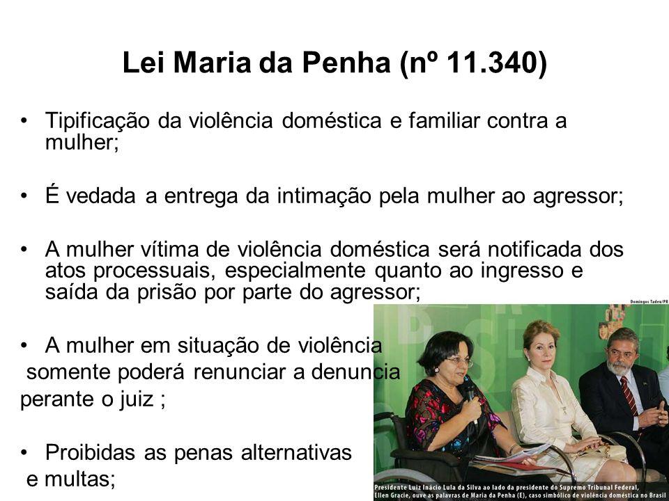 Lei Maria da Penha (nº 11.340) Tipificação da violência doméstica e familiar contra a mulher; É vedada a entrega da intimação pela mulher ao agressor;