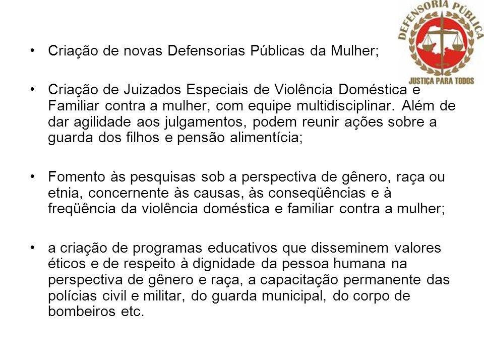 Criação de novas Defensorias Públicas da Mulher; Criação de Juizados Especiais de Violência Doméstica e Familiar contra a mulher, com equipe multidisc