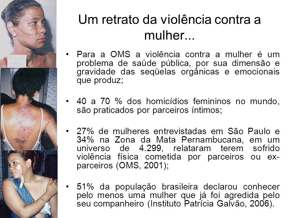 Central de Atendimento à Mulher Ligue 180 (2005 a 07/2007) 94% dos registros eram relacionados à violência doméstica e familiar; 73% dos registros de denúncias foram causados por violência praticada pelo cônjuge; 80% das vítimas de violência relataram ter filhos; 59% dos registros de denúncias informaram que a freqüência com que a violência ocorre é diária; 57% dos registros informaram que os agressores utilizam entorpecentes;