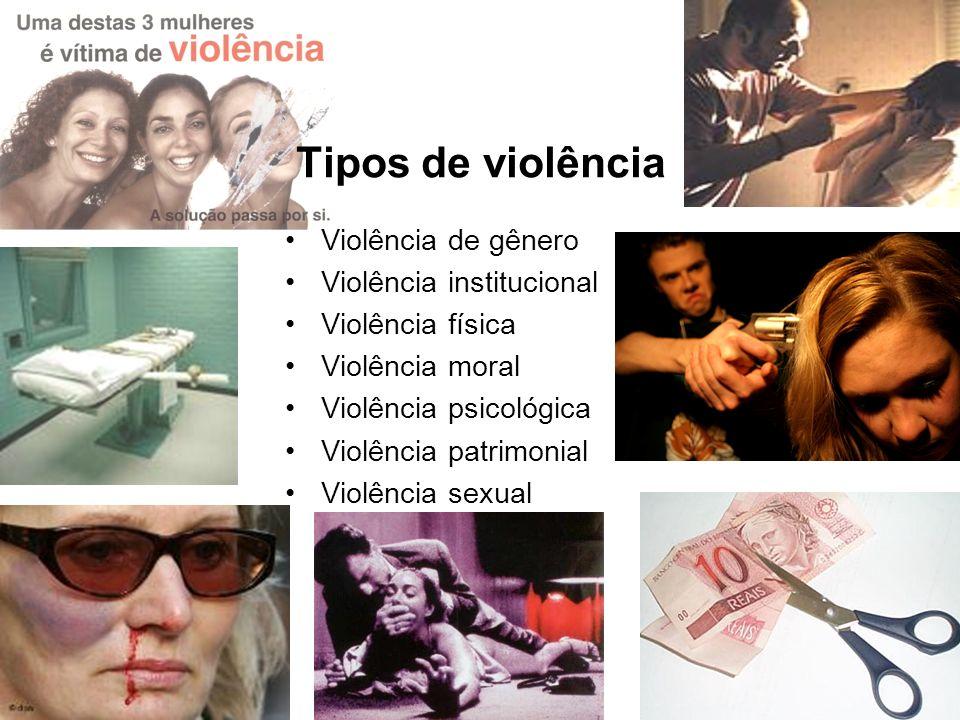 Tipos de violência Violência de gênero Violência institucional Violência física Violência moral Violência psicológica Violência patrimonial Violência