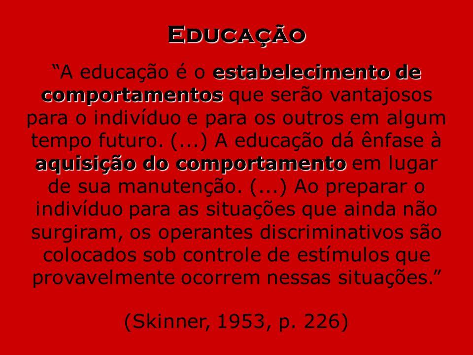 Educação estabelecimento de comportamentos aquisição do comportamento A educação é o estabelecimento de comportamentos que serão vantajosos para o ind