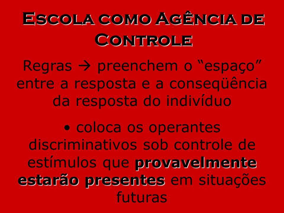 Escola como Agência de Controle Regras preenchem o espaço entre a resposta e a conseqüência da resposta do indivíduo provavelmente estarão presentes c