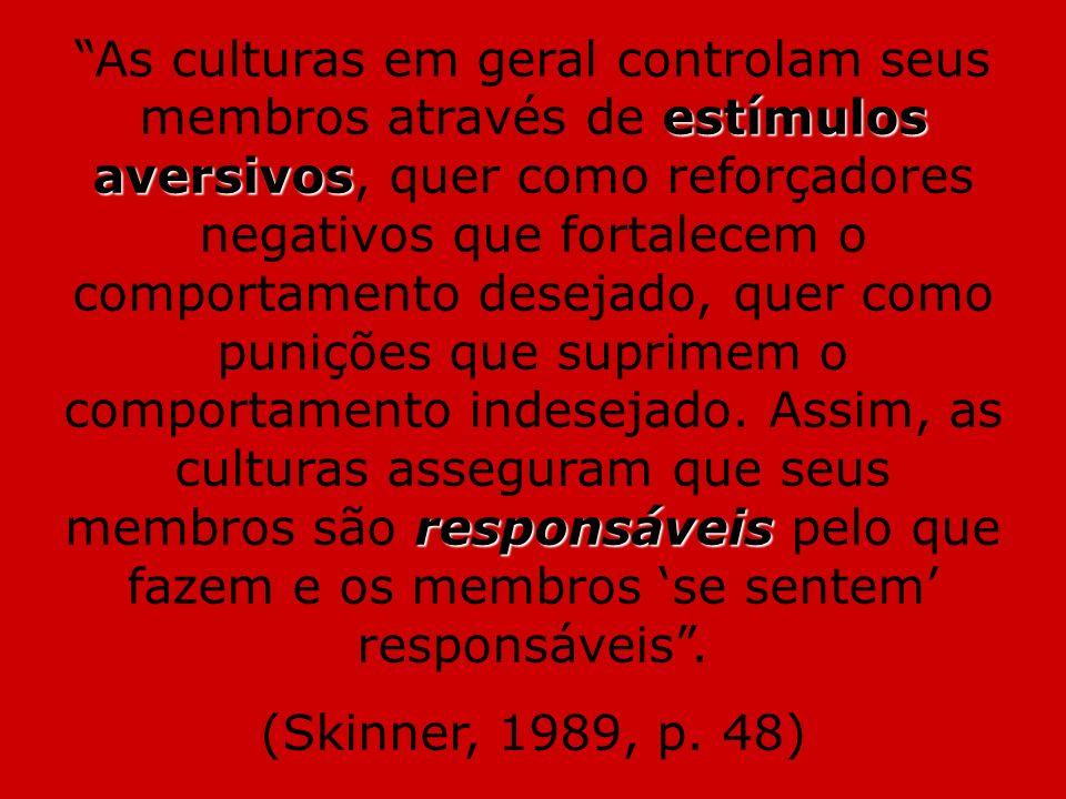 estímulos aversivos responsáveis As culturas em geral controlam seus membros através de estímulos aversivos, quer como reforçadores negativos que fort