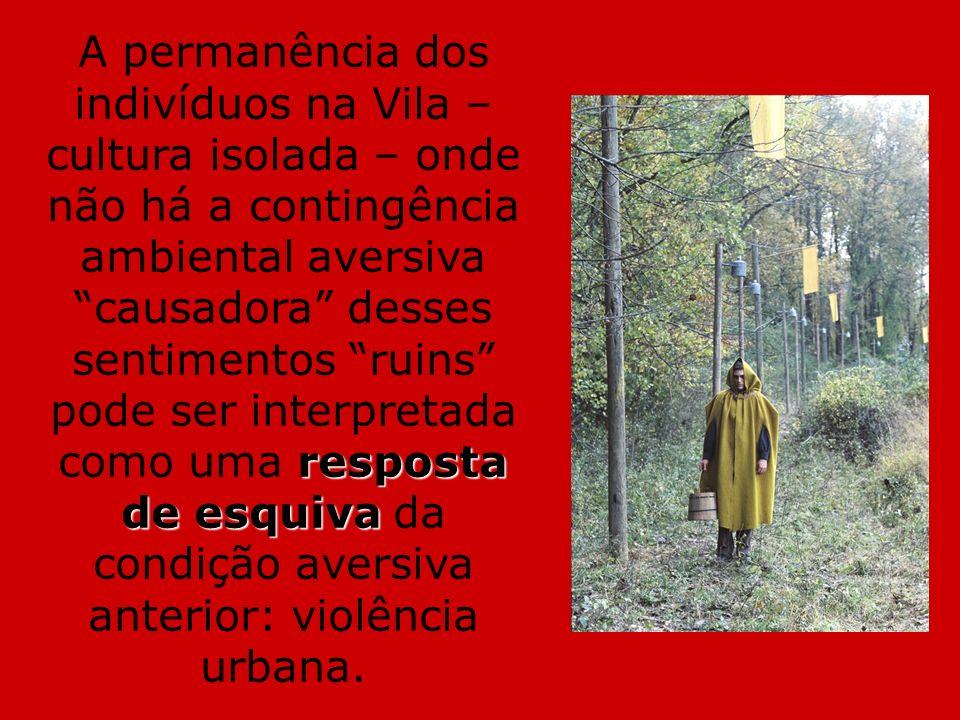resposta de esquiva A permanência dos indivíduos na Vila – cultura isolada – onde não há a contingência ambiental aversiva causadora desses sentimento