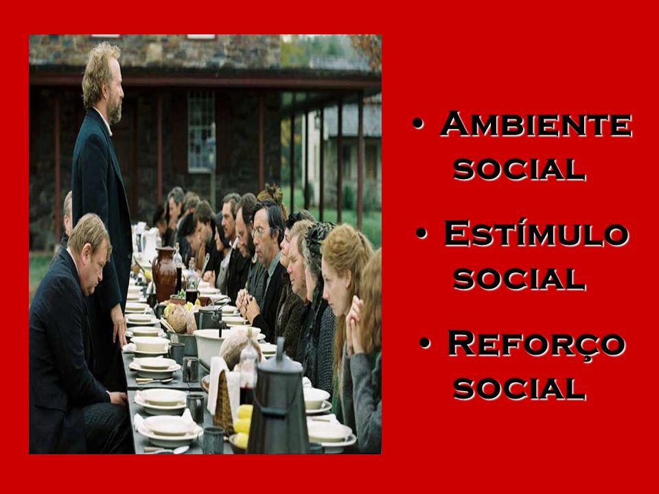 Ambiente social Ambiente social Estímulo social Estímulo social Reforço social Reforço social