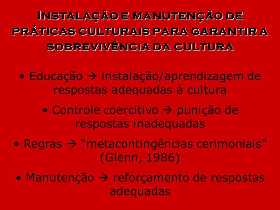 Instalação e manutenção de práticas culturais para garantir a sobrevivência da cultura Educação instalação/aprendizagem de respostas adequadas à cultu