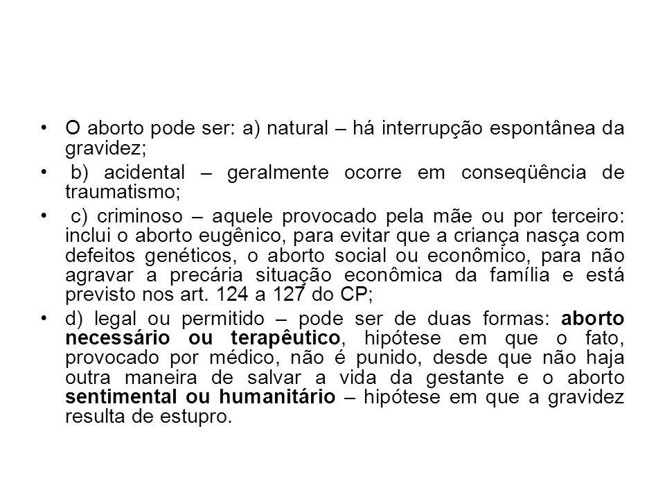 O aborto pode ser: a) natural – há interrupção espontânea da gravidez; b) acidental – geralmente ocorre em conseqüência de traumatismo; c) criminoso –