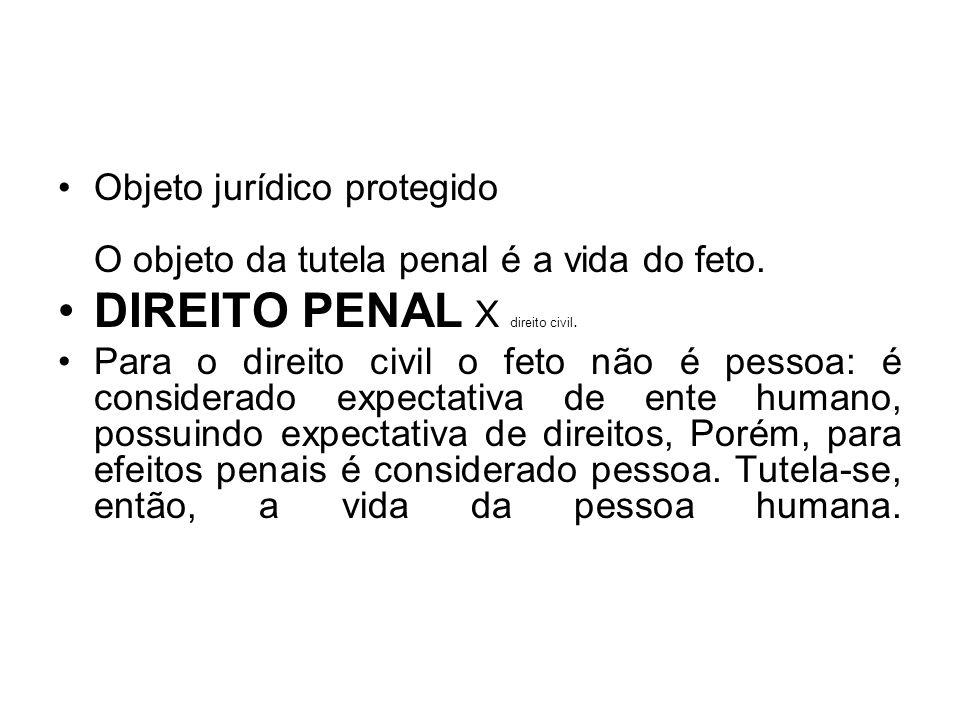 Objeto jurídico protegido O objeto da tutela penal é a vida do feto. DIREITO PENAL X direito civil. Para o direito civil o feto não é pessoa: é consid
