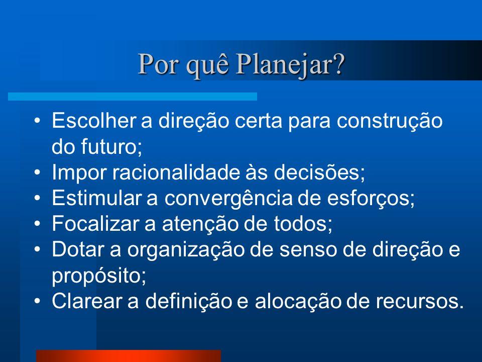 Por quê Planejar? Escolher a direção certa para construção do futuro; Impor racionalidade às decisões; Estimular a convergência de esforços; Focalizar