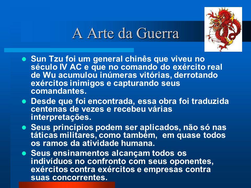 A Arte da Guerra AVALIAÇÃO Cinco fatores: a) Caminho (Tao) b) Clima c) Terreno d) Comando e) Norma Em uma guerra os comandantes devem analisar os seus 05 fatores e os de seu oponente.